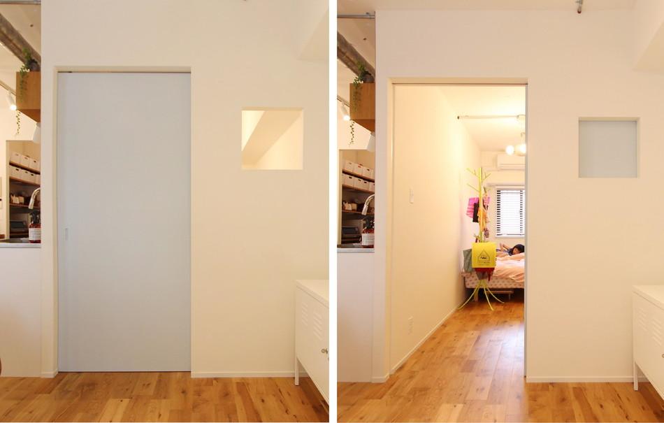リノベWebMAGAZINE:子供部屋とリビングを繋ぐ正方形の小窓