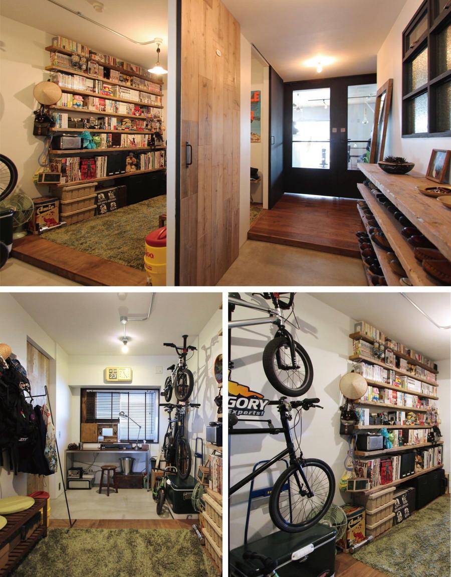 中古リノベーション:自転車でそのまま乗り入れられる広い土間をプラス