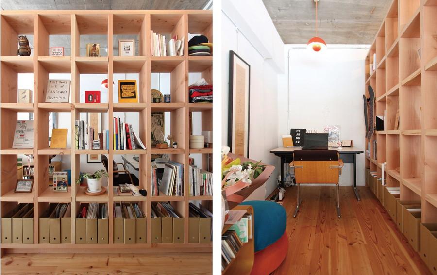 中古リノベーション:空間をゆるやかにつなぐ棚で仕切る
