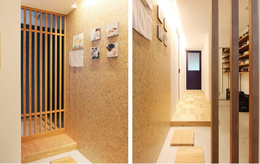 中古リノベーション:空間に広がりを感じさせる格子の扉で仕切る