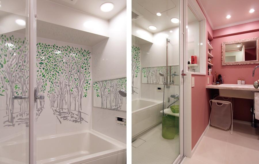 中古リノベーション:グリーンで彩りをプラスした清々しいバスルーム