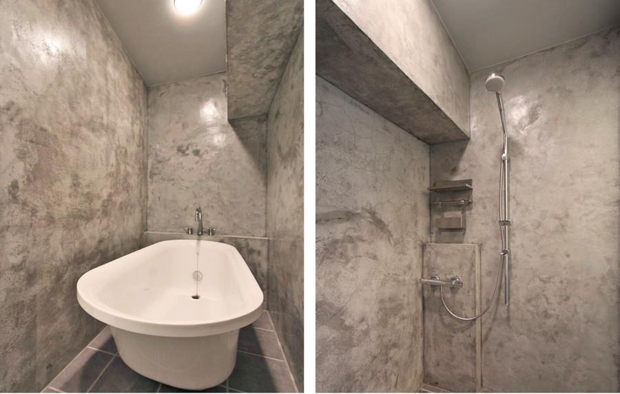 中古リノベーション:モルタルに囲まれた超COOL なバスルーム