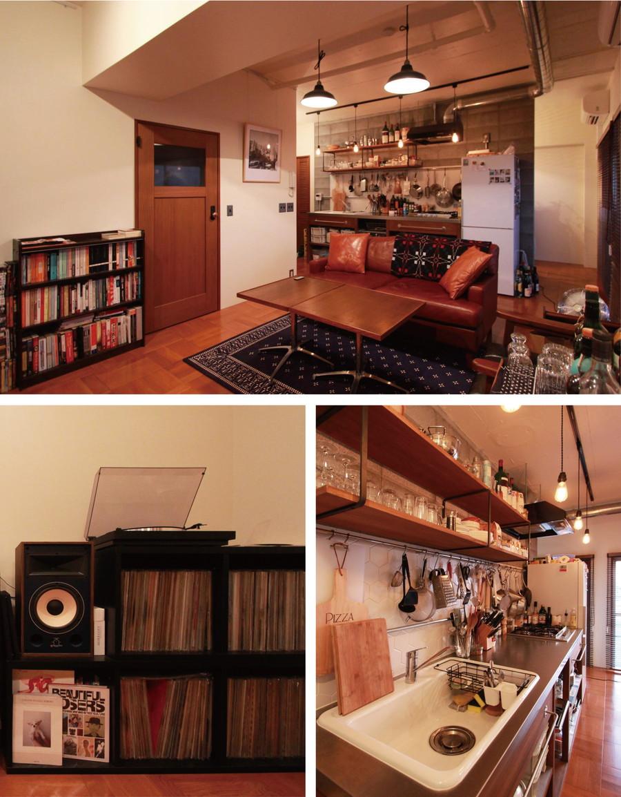 リノベーション:料理と音楽を楽しむラフな男子リノベ部屋