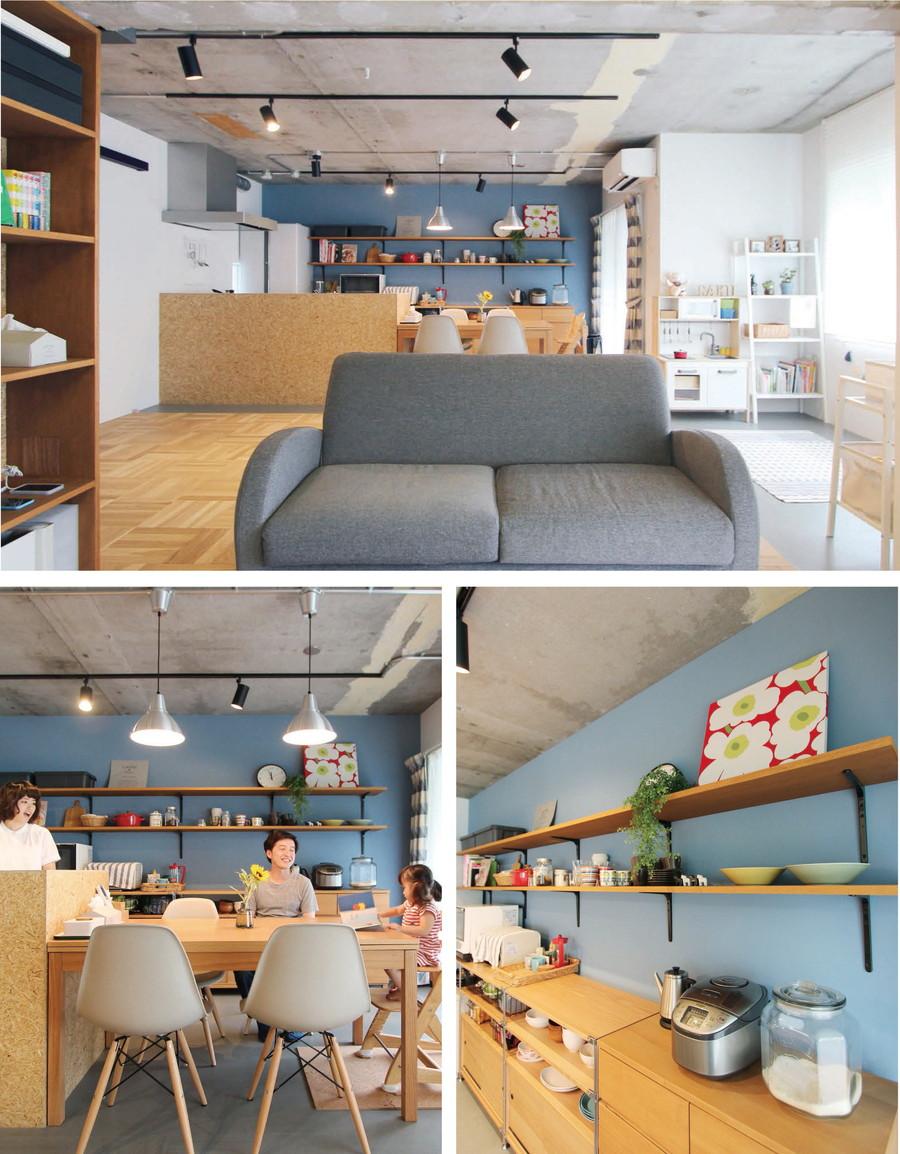 中古リノベーション:カラーバリエーションが豊富! 塗装仕上げの壁