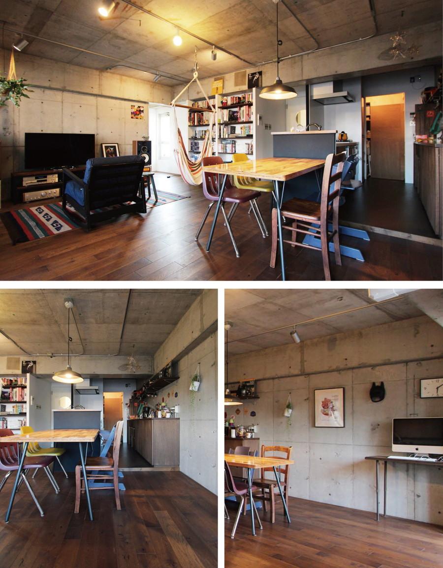中古リノベーション:クールな空間にするなら断然コレ! コンクリート現しの壁
