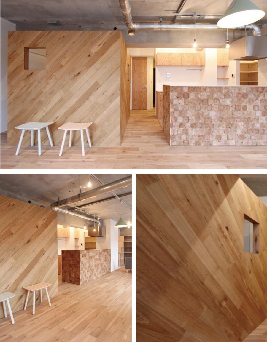 中古リノベーション:空間に木の温もりをプラス! 木板貼りの壁