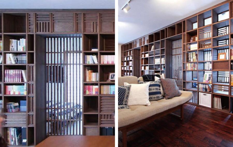 中古リノベーション:影のシルエットが美しい! 和モダンな木格子のドア