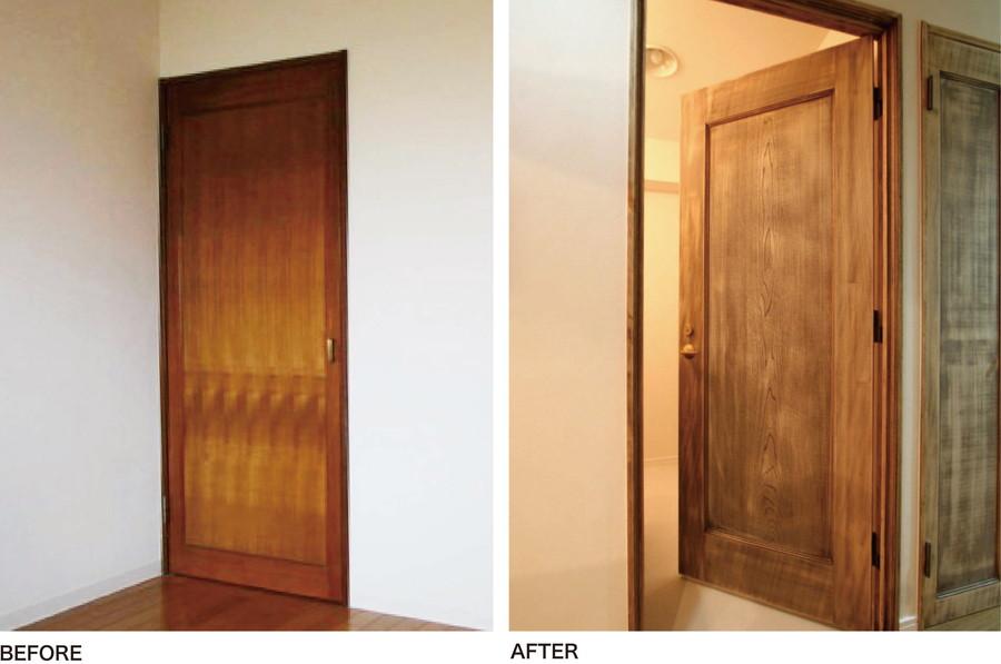 中古リノベーション:【番外編】既存のドアを塗装しただけ! ラフテイストなドア