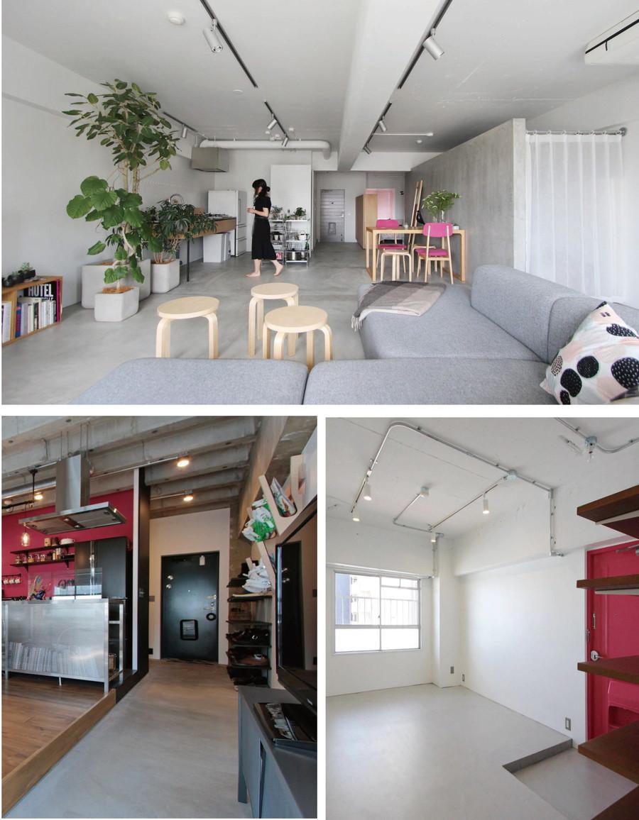 中古リノベーション:モダンな空間にピッタリ!モルタルを敷いたお部屋