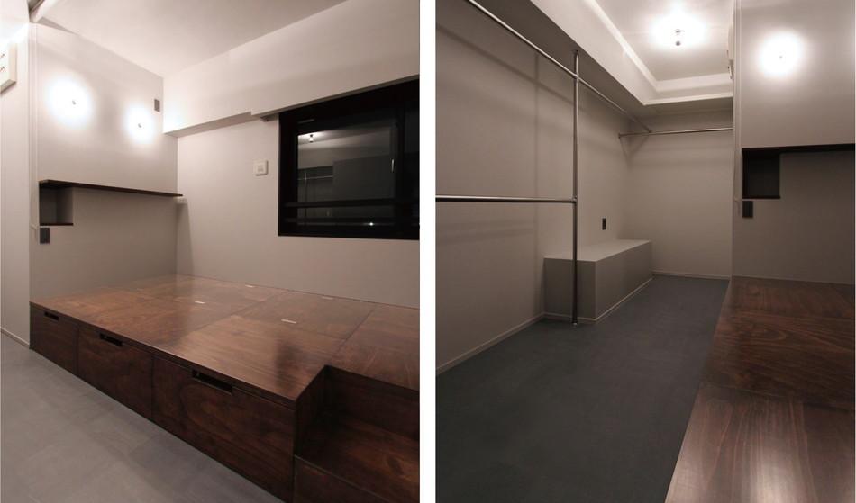 中古リノベーション:玄関横に儲けた小上がりスペース