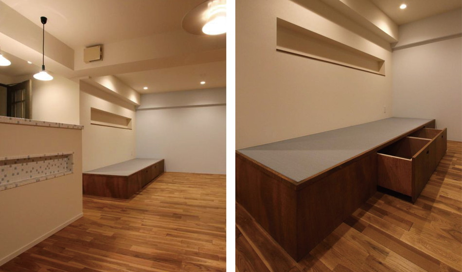 中古リノベーション:ベンチとしても使える小さな小上がりスペーズ