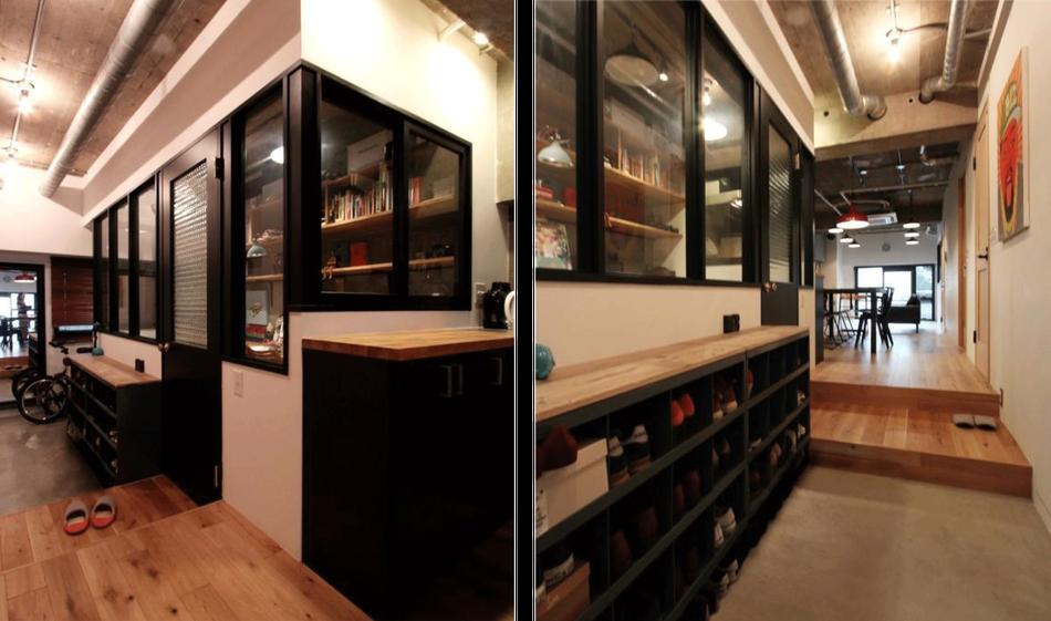 中古リノベーション:ブラック内窓が出迎える玄関