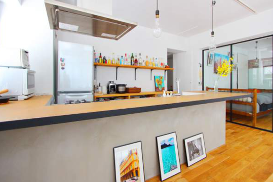 約75センチと、低めに設計したキッチン。